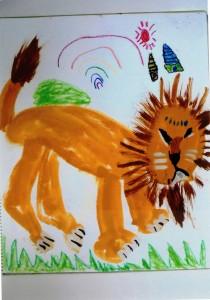 女の子:ライオンを描こう