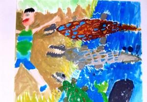 男の子:自由画