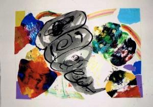 男の子:抽象画