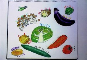 女の子:野菜の絵