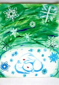 女の子:雪の結晶の絵