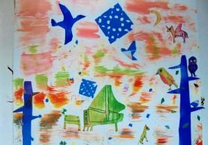 女の子:手作りの色画用紙を使った貼り絵