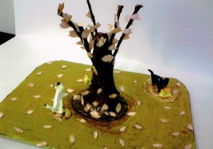 女の子:自然木を使った木のあるジオラマ1