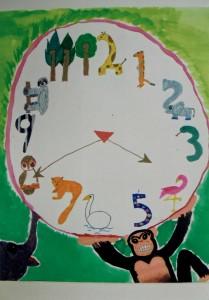男の子:数字をデザイン化させておもしろ時計を描こう