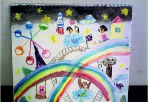 女の子:虹を渡ろう