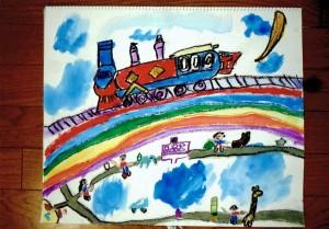 男の子:汽車を描こう