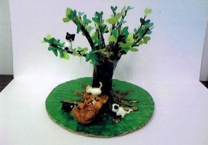 女の子:自然木を使った木のあるジオラマ2