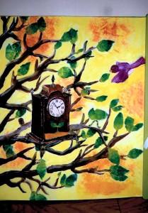 女の子:時計のある風景